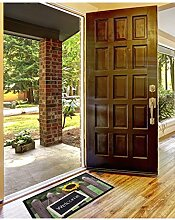 un Amour von Teppich 36388Welcome Sonnenblume Fußmatte Staubschutz Polyamid Grün 45x 75cm
