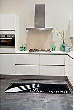 un Amour von Teppich 36464Gabel Küchenteppich, Polyamid Schwarz 50x 150cm