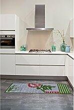 un Amour von Teppich 36466Olivenöl Küchenteppich, Polyamid Grün 50x 150cm