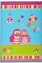 un Amour von Teppich 36512Tep Owl Teppich für Kinder Polyamid Blau/Türkis 133x 190cm