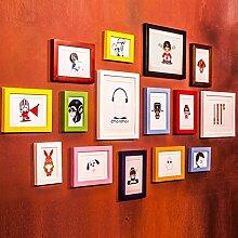 Unbekannt 15 Multi Bilderrahmen Set Moderne Holz Minimalistischen Stil Foto Wandfarbe Schlafzimmer Studie Wohnzimmer Hintergrund Kreative Foto Rahmen Portfolio @The Harvest Season (Farbe : A)