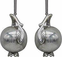 Unbekannt 2 Granatäpfel Christbaumschmuck Silber