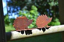 Unbekannt 2 Stück Igel auf Blatt Metall Rost