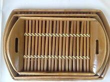Unbekannt 3er Set Bambus Serviertablet Tablet