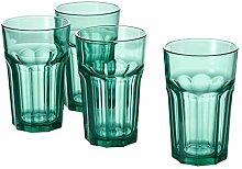 Unbekannt 4er Set Pokal IKEA Glas, grün, 35cl