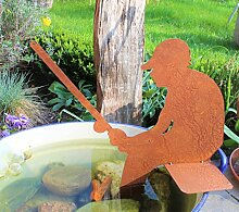 Unbekannt Angler 40cm Metall Rost Gartendeko