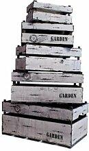 Unbekannt Aufbewahrungsbox Holzkisten 5er Set grau
