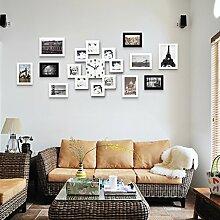 Unbekannt Bilderrahmen Wanduhr - 9 Mini Bilderrahmen - Zuschneiden Freunde Familienbilder - Aluminium Schwarz (Farbe : Weiß)