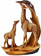 Unbekannt Deko Giraffenfamilie, Bild geschnitzt