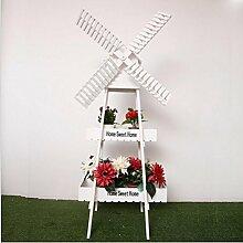 Unbekannt FEI Rack Faltender Hölzerner Blumen-Topf-Regal-Stand-Hölzerner Präsentationsständer-Innengarten im Freien Weiß/Holz (Farbe : Weiß)