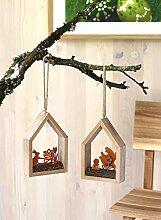 Unbekannt Fensterbild mit Huhn Henne I Holz Rost I