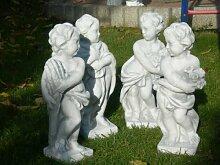 Unbekannt Figuren Vierjahreszeiten Winter, Frühling, Sommer, Herbst Satz 4 Stück Beton