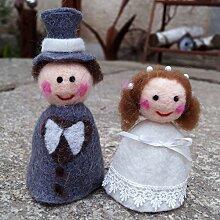 Unbekannt Filz Eierwärmer Brautpaar Handarbeit