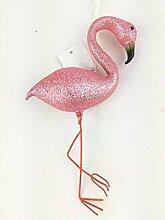 Unbekannt Flamingo mit Glitzer 13cm Glas