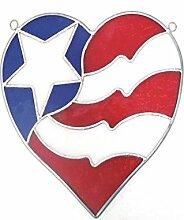 Unbekannt Fleck Glas Mini Flagge Herz Suncatcher