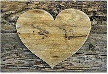 Unbekannt fußmatte Holz Herz 75x50x1cm