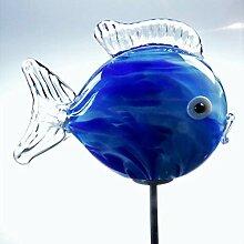 Unbekannt Gartendeko Glas-Minikugelfisch Azurblau,