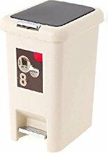 Unbekannt GJ Mülleimer Kunststoff Haushalt Druckring Speicher Eimer 8 Liter Umweltschutz (Farbe : Beige)