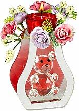 Unbekannt Glas-Deko Bärchen, Blumengesteck mit