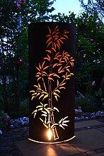Unbekannt große außergewöhnliche Licht-Rostsäule - Feuersäule- ca. Höhe 120 cm - dekorative sehr stabile Bambussäule für Haus und Garten aus Metall -zaubert ein großartiges Lich