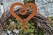 Unbekannt Herz auf Stab Metall Edelrost Rost