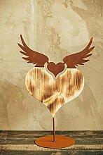 Unbekannt Herz zum Stellen Holzherz Metall