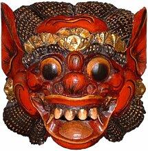 Unbekannt Holzmaske Barong II, 18cm Wandmaske rot