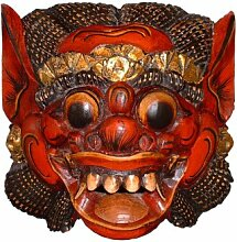Unbekannt Holzmaske Barong II, 20cm Wandmaske rot