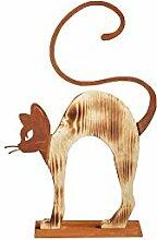 Unbekannt Katze Kater buckelnd Holzkatze Rostkatze