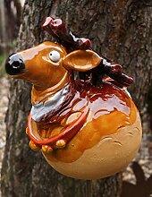 Unbekannt Keramik Gartenkugel Hirsch 22 cm