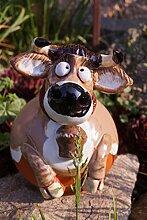 Unbekannt Keramik Gartenkugel Kuh ROSI mit Glocke