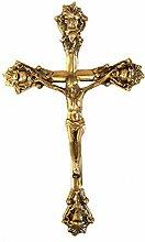 Unbekannt Kruzifix Jesus am Kreuz Messing Gold