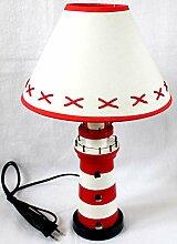 Unbekannt Leuchtturm Lampe rot/weiß ca. 40cm
