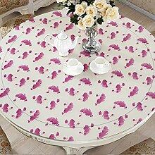 Unbekannt Lila PVC Plastik runden Tisch Tischdecke wasserdichte Tischdecke runden Tuch (größe : 130cm)