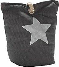 Unbekannt Lilienburg TÜRSTOPPER schwer Stoff Sack STERN mit Seil 100% Baumwolle + 1 x Holzherz grau … (Grau)
