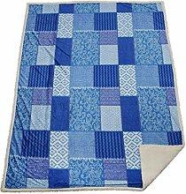Unbekannt Patchwork-Sherpa Decke, Blau, 150 x 200