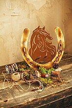 Unbekannt Pferd Pony Portrait Metall Holz Edelrost