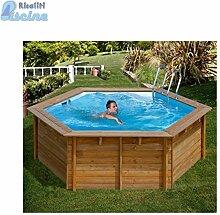 Unbekannt Pool rund fuoriterra aus Holz Vanille mit Sandfilter-4MC/H; 360x H116cm Durchm.