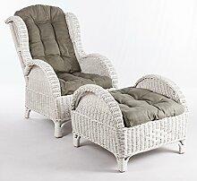 Unbekannt Rattan-Sessel Ohren-Sessel Weiß | Relax-Sessel Fernsesessel + Hocker + Kissen