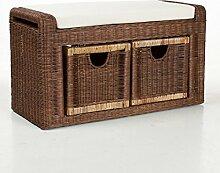 Unbekannt Rattanbank Rattanbox mit Sitzkissen |