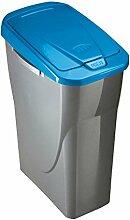 Unbekannt ROLLER Mülleimer ECOBIN - silber - blau - 25 Liter