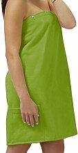 Unbekannt Saunakilt Dame grün – moos, das Saunatuch aus Frottee Baumwolle, Sauna Sarong mit Druckknöpfen, Tasche und Gummizug