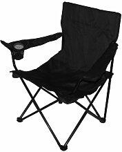Unbekannt Sessel für Fischerei, Camping Klappstuhl mit Getränkehalter und Tragetasche–Schwarz