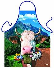 Unbekannt Set Grillschürze: Alpenkuh Bedruckte