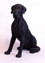 Unbekannt Sitzende Dogge in Schwarz 39 cm Gartendeko