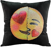 Unbekannt Smiley Kissen Reversible Pailletten