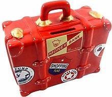 Unbekannt Spardose Reisekoffer Rot lustige Sparbüchse im Koffer Design, Originelles Sparschwein Reisekassa