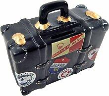 Unbekannt Spardose Reisekoffer Schwarz lustige Sparbüchse im Koffer Design, Originelles Sparschwein Reisekassa