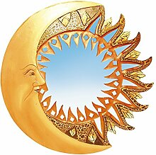 Unbekannt Spiegel Mosaik Sonne Mond antik 40cm Holz