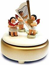 Unbekannt Spieldose weiß/Gold/rot mit 3 Engel und